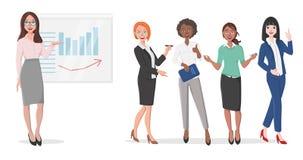 Бизнес-леди в представлении иллюстрация штока