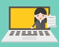 Бизнес-леди в экране компьтер-книжки посылая документ, онлайн деятельность иллюстрация штока