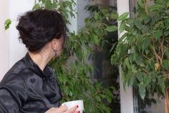 Бизнес-леди держа чашку чаю Стоковое Изображение