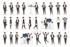 Бизнес-леди или женский работник офиса одели в умной одежде в различных позициях, настроениях, ситуациях и выражать иллюстрация вектора
