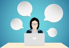 Бизнес-леди и пузырь думают бесплатная иллюстрация