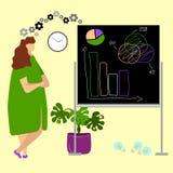 Бизнес-леди которая работает на исполнительном уровне иллюстрация штока