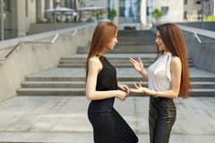 2 бизнес-леди обсуждают на заднем плане города Стоковая Фотография RF