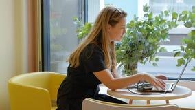 Бизнес-леди сидя на таблице в кофе кафа выпивая и работая на компьтер-книжке акции видеоматериалы
