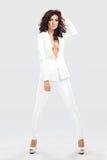 Бизнес модель моды в белых одеждах стоковое изображение rf
