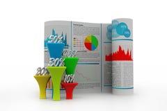 Бизнес-отчет с диаграммой процента Стоковая Фотография