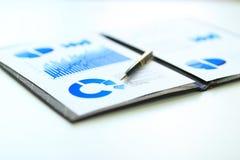 Бизнес-отчет с план-графиками финансовых и маркетинга и бизнесменом рабочего места ручки Стоковое фото RF