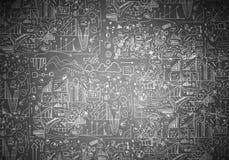 Бизнес-план сделанный эскиз к на стене Мультимедиа Стоковое фото RF