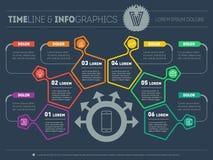 Бизнес-план с 6 шагами Infographic с элементами дизайна Стоковое Фото