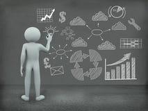 бизнес-план чертежа человека 3d на стене Стоковые Фотографии RF