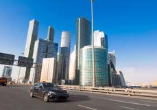 Бизнес-центр MIBC Москвы международный, увиденный от третьей кольцевой дороги Стоковые Фотографии RF
