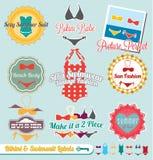 Бикини и ярлыки и стикеры Swimsuit иллюстрация вектора