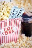 билеты попкорна кино Стоковая Фотография RF