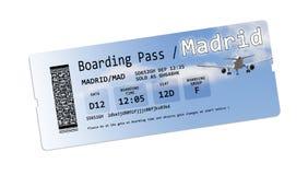 Билеты посадочного талона авиакомпании к Мадриду изолировали на бело- Стоковые Фото