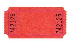 Билет в театр пробела одиночный красный изолированный на белизне стоковое изображение