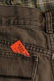 билет джинсыов карманный стоковые изображения rf