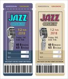 Билет допущения талона входа билета для концерта джазовой музыки иллюстрация штока