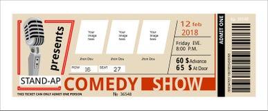 Билет, комедия, шоу, приглашение концерта потехи, иллюстрация штока
