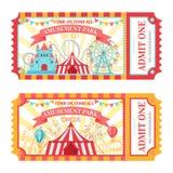 Билет парка атракционов Допустите билеты одного допущения цирка, фестиваль привлекательностей парка семьи и забавляя ярмарочную п бесплатная иллюстрация