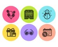 Билет победителя, значки солнечных очков и воздушных шаров набор Пакет сюрприза, скидки снеговика и календаря знаки вектор бесплатная иллюстрация