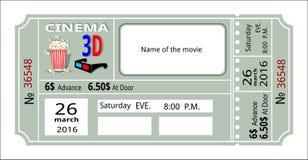 Билет события кино 3d фильма кино бесплатная иллюстрация