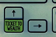 Билет сочинительства текста почерка к богатству Проход колеса фортуны смысла концепции к успешному и более яркому будущему стоковые фотографии rf