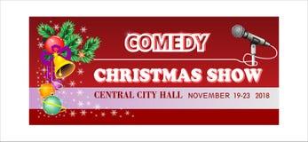 Билет шоу рождества комедии, событие, допущение колокол руки, шарики, Новый Год омелы иллюстрация вектора