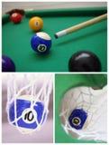 биллиарды шариков закрывают коллаж вверх Стоковое Фото