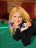 биллиард шариков красивейший много ся женщина Стоковое Фото