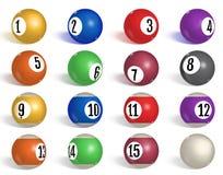 Билльярд, собрание шариков бассейна snooker Реалистические шарики на белой предпосылке также вектор иллюстрации притяжки corel иллюстрация вектора
