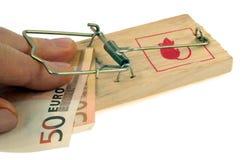 Билл евро 50 поглощенного с ковриком для мыши стоковое изображение rf