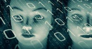 Бинарная абстрактная предпосылка, безопасность кибер атаки Стоковые Изображения