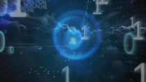 Бинарные коды в ночном небе бесплатная иллюстрация