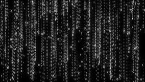 Бинарный дождь абстрактная предпосылка фона Влияние матрицы потока цифровых данных Белизна нумерует числа нул одними потоки иллюстрация вектора