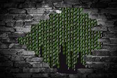 Бинарный код в проломе стены Стоковая Фотография