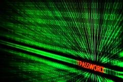 Бинарный код с мотыгой пароля Стоковые Фотографии RF