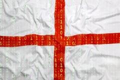 Бинарный код с флагом Англии, концепция защиты данных Стоковые Фотографии RF