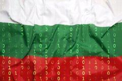 Бинарный код с флагом Болгарии, концепция защиты данных Стоковые Изображения
