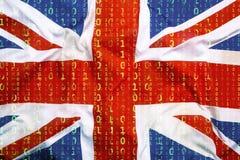 Бинарный код с флагом Великобритании, концепция защиты данных Стоковая Фотография RF
