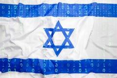 Бинарный код с флагом Израиля, концепция защиты данных Стоковое фото RF