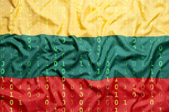 Бинарный код с флагом Литвы, концепция защиты данных Стоковое фото RF