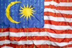 Бинарный код с флагом Малайзии, концепция защиты данных Стоковое Изображение RF