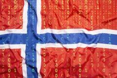 Бинарный код с флагом Норвегии, концепция защиты данных Стоковое Изображение
