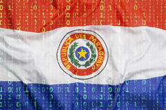 Бинарный код с флагом Парагвая, концепция защиты данных Стоковые Изображения RF