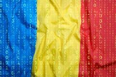 Бинарный код с флагом Румынии, концепция защиты данных Стоковое Изображение RF