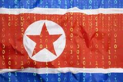 Бинарный код с флагом Северной Кореи, концепция защиты данных Стоковая Фотография
