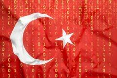 Бинарный код с флагом Турции, концепция защиты данных Стоковая Фотография
