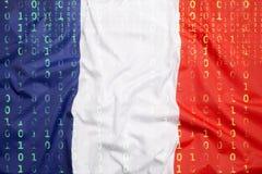 Бинарный код с флагом Франции, концепция защиты данных Стоковые Фото