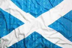 Бинарный код с флагом Шотландии, концепция защиты данных Стоковая Фотография