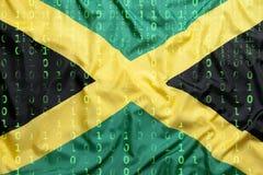 Бинарный код с флагом ямайки, концепция защиты данных Стоковые Изображения